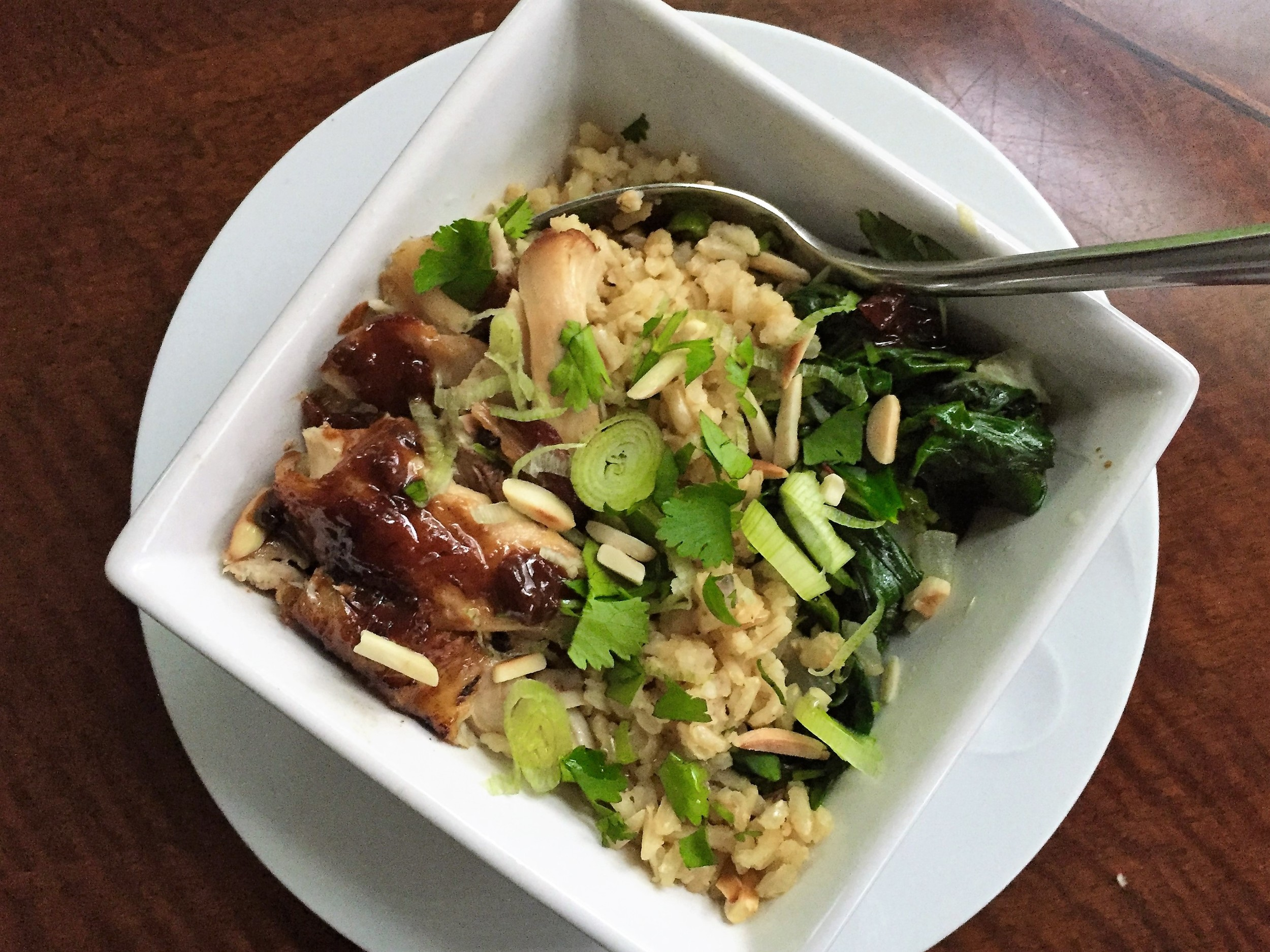 Adobo Rice Bowl made with  Chicken Adobo  and  Garlicky Brown Rice  in the Adventure Kitchen