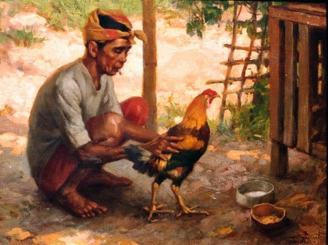 Man with chicken philippines painting
