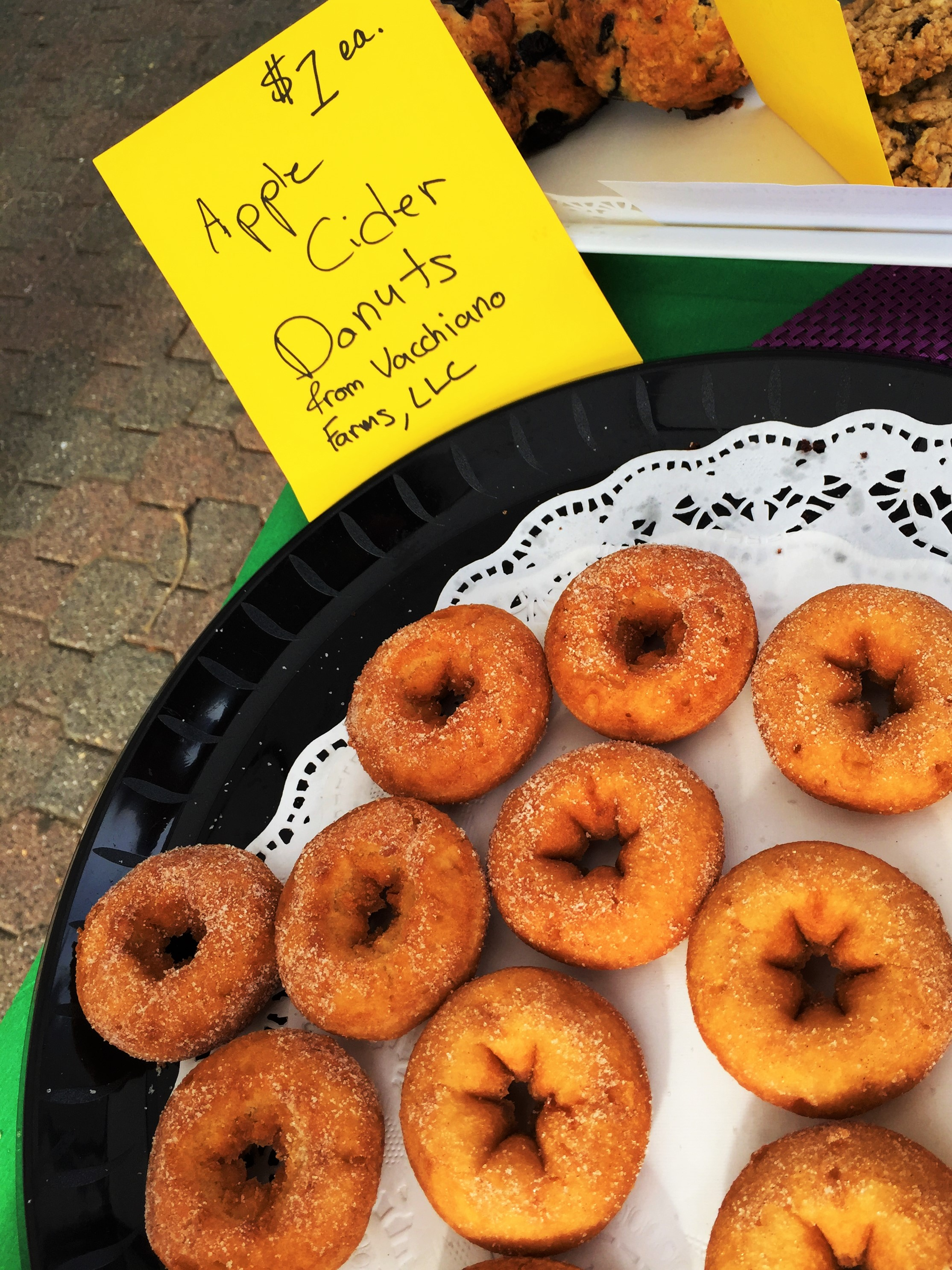 Apple cider doughnuts donated by Vacchiano Farm, at the Montclair Farmer's Market every Saturday!