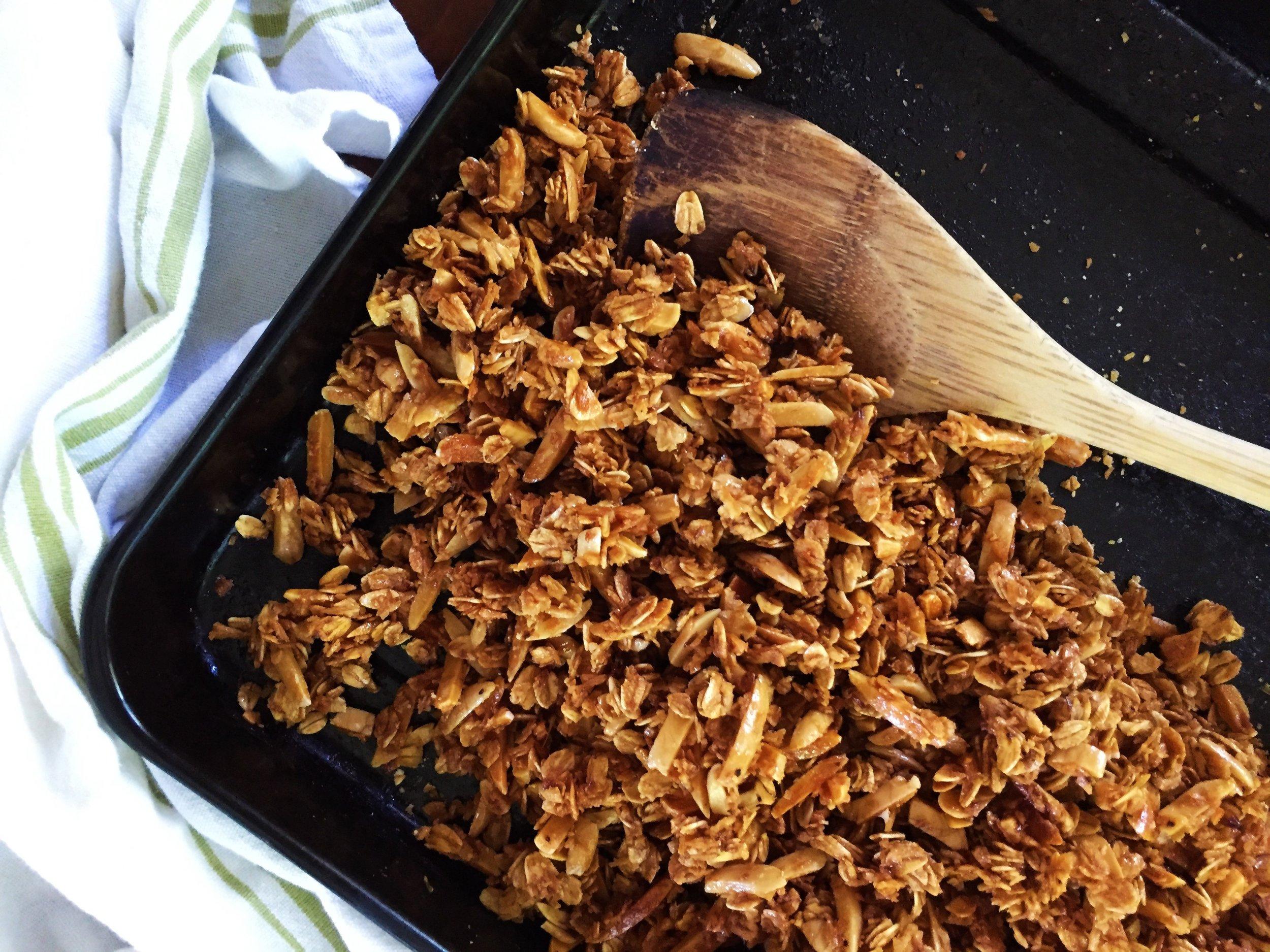 Coconut-Almond Granola made in the Adventure Kitchen.