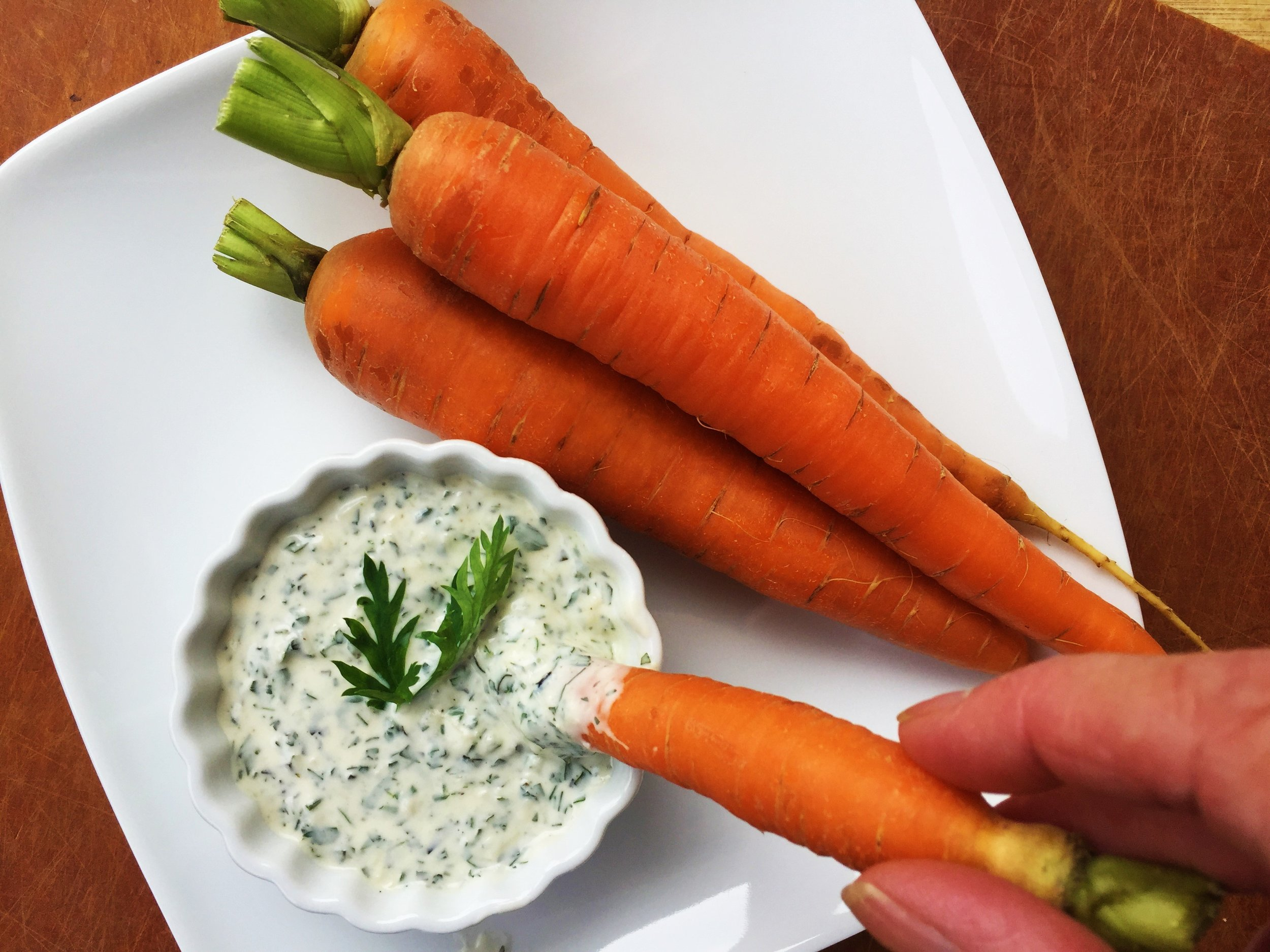 Carrot-Top Parmesan Ranch Dip made in the Adventure Kitchen.