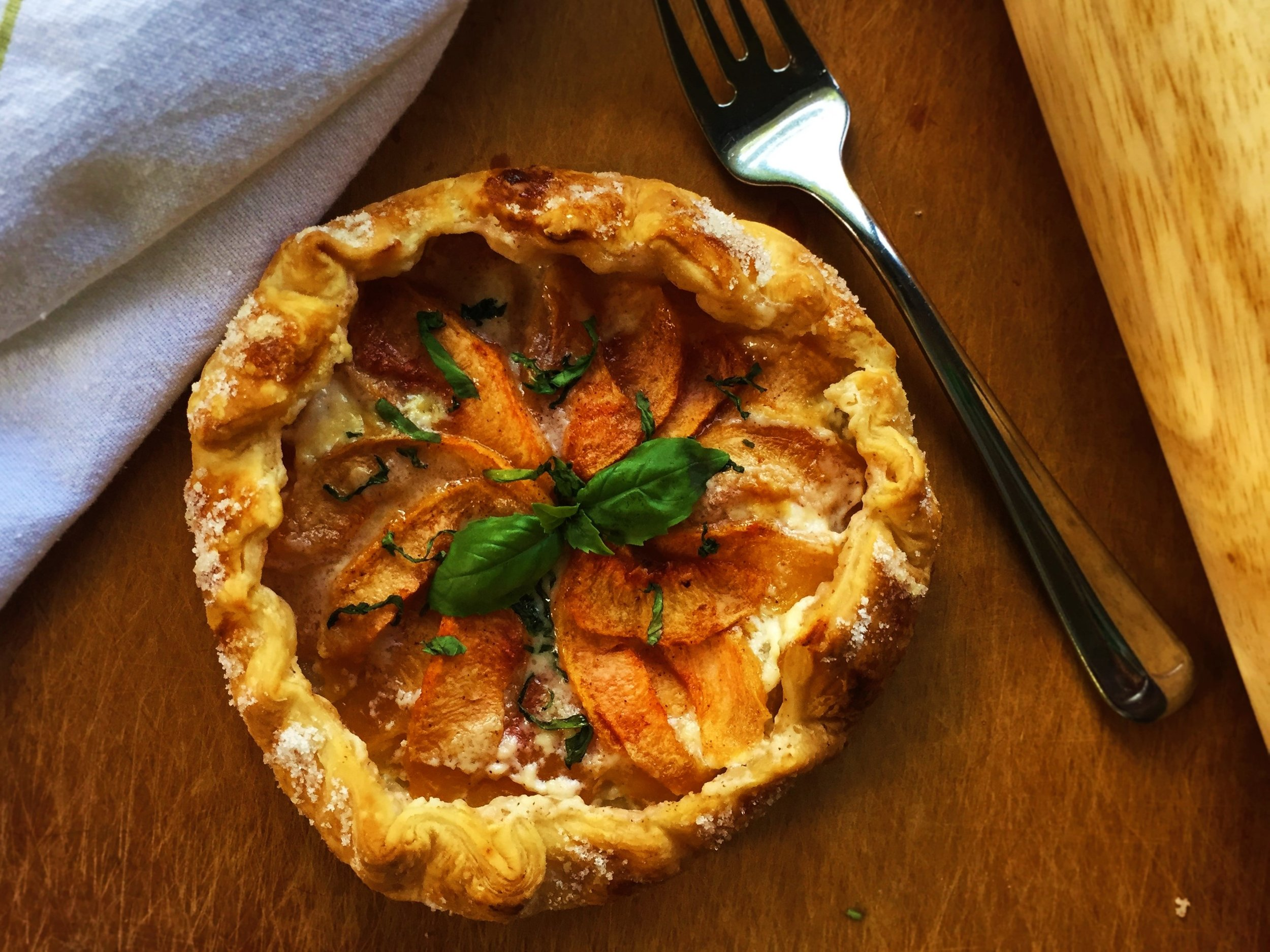 Basil-Peach Galette made in the Adventure Kitchen.