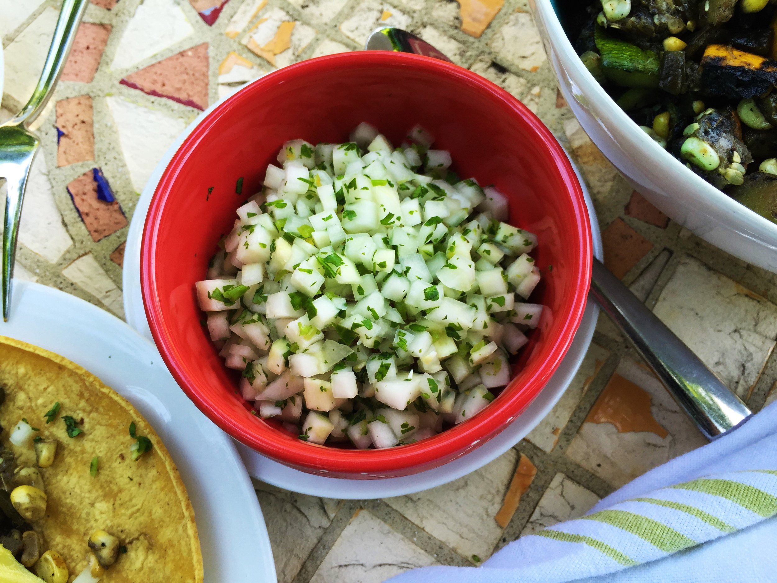 Kohlrabi Salsa Cruda made in the Adventure Kitchen (shown with  Grilled Summer Veggie Tacos)