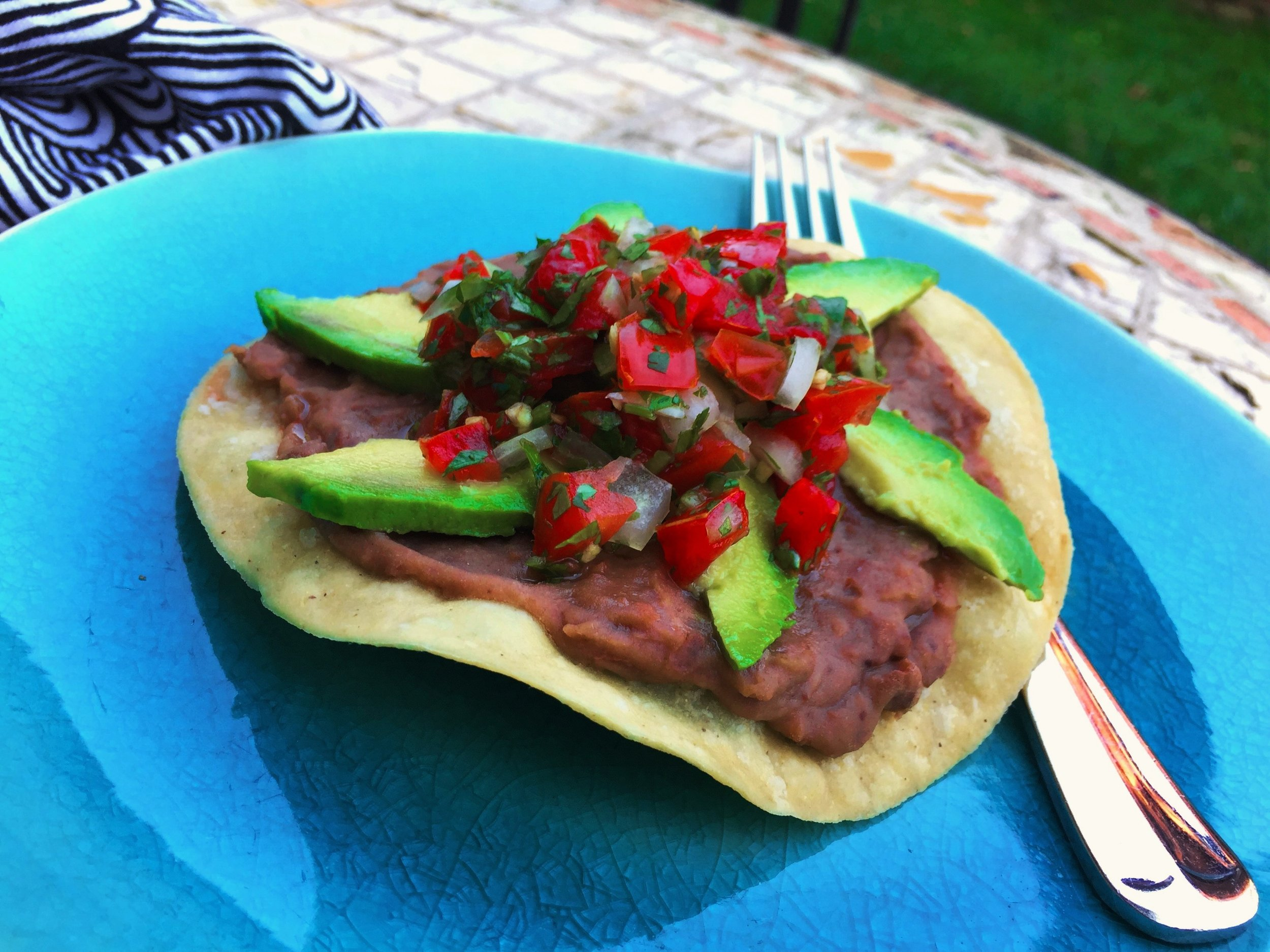 Tostada with Avocado and Pico de Gallo made in the Adventure Kitchen.