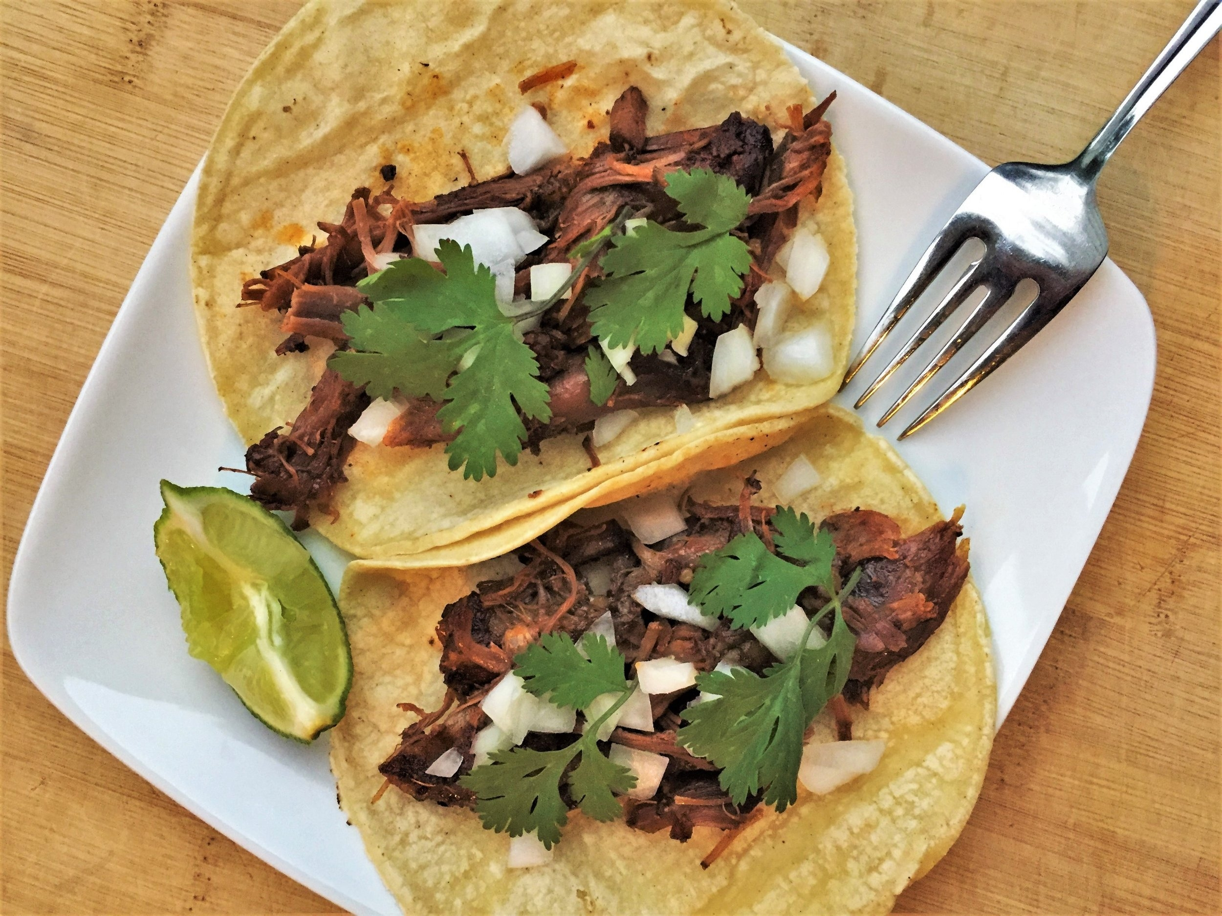 Barbacoa Tacos made in the Adventure Kitchen.