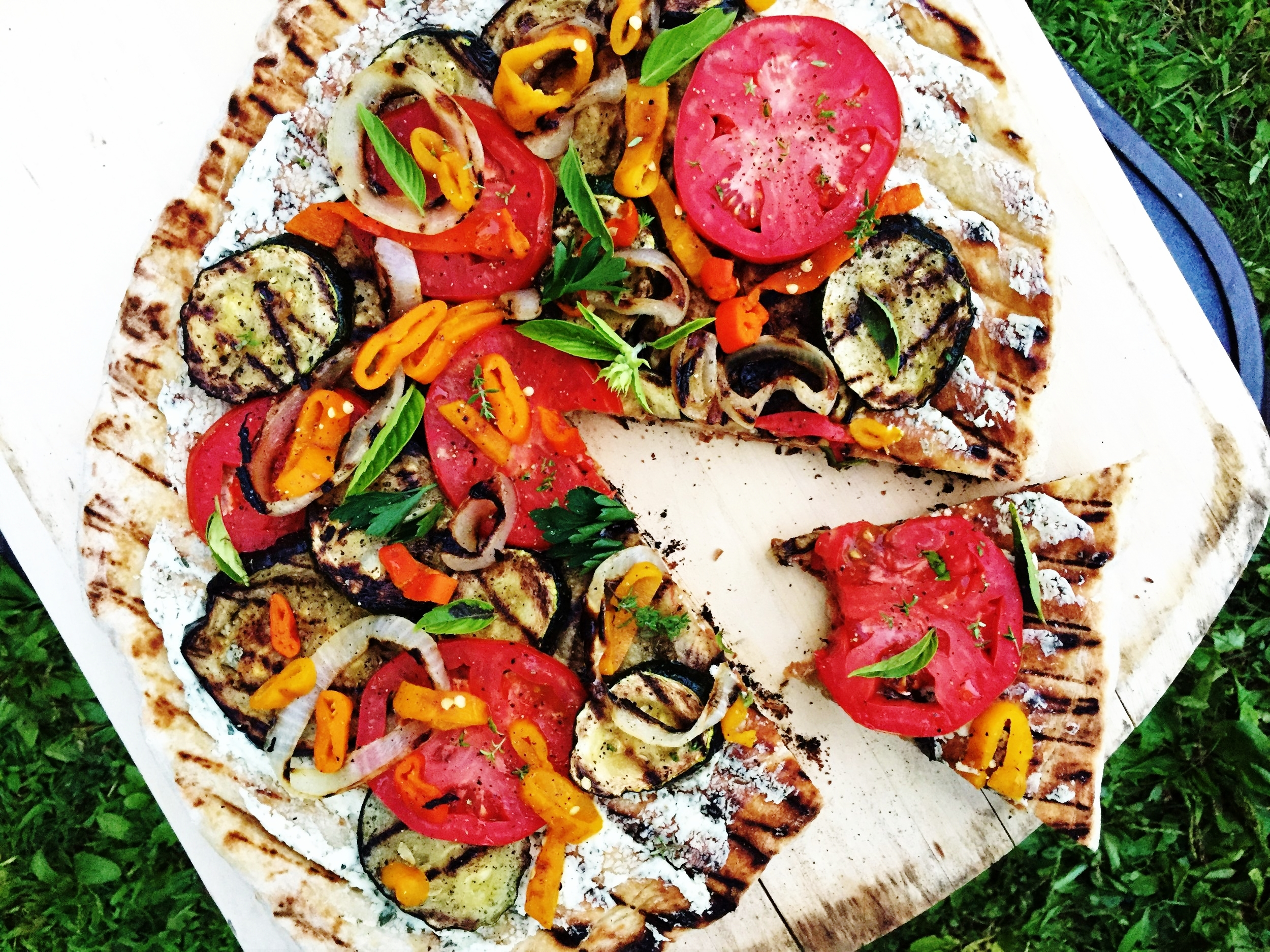 Grilled Ratatouille Pizza made in the Adventure Kitchen.