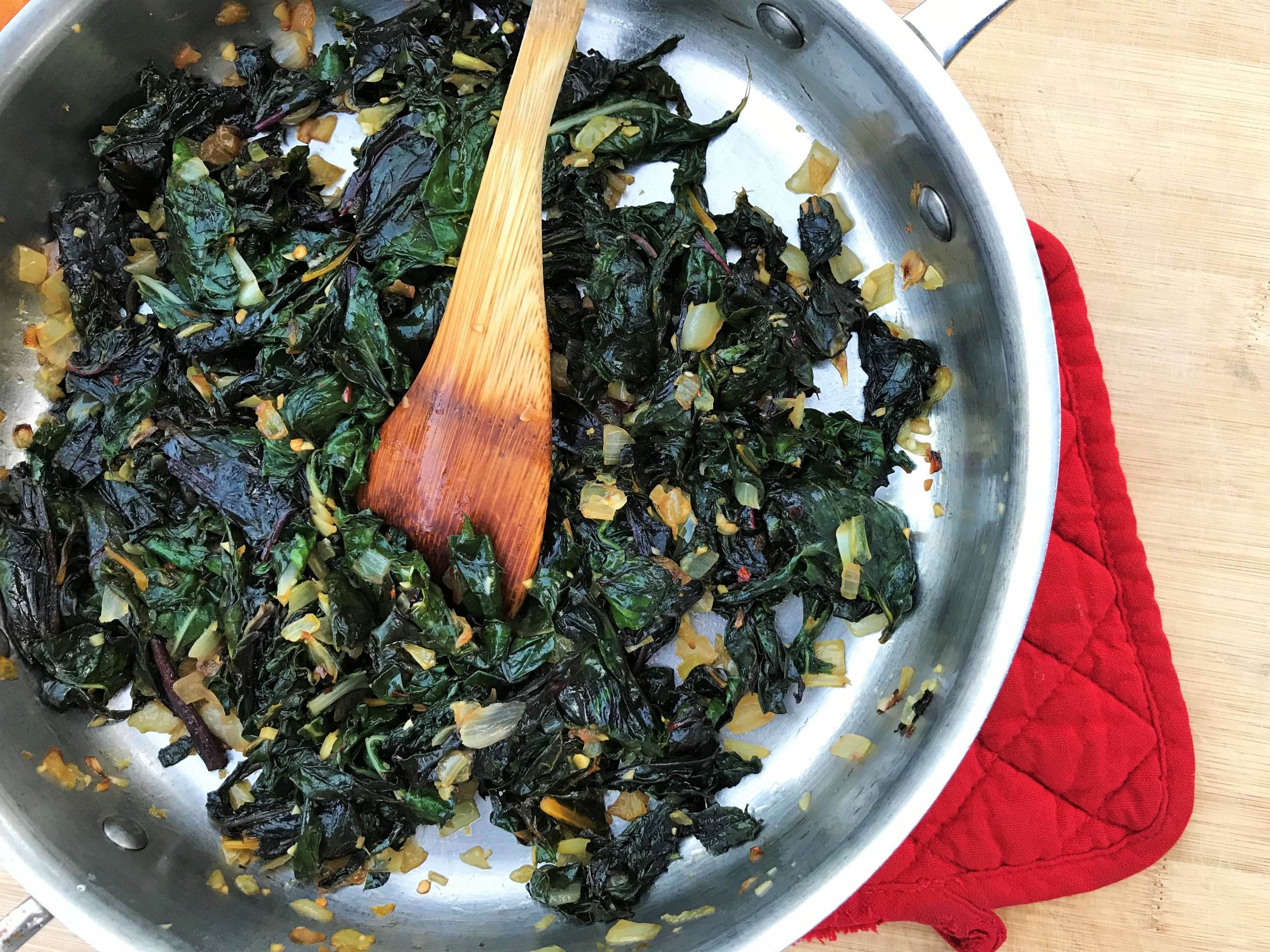 Sauteed Swiss Chard made in the Adventure Kitchen.