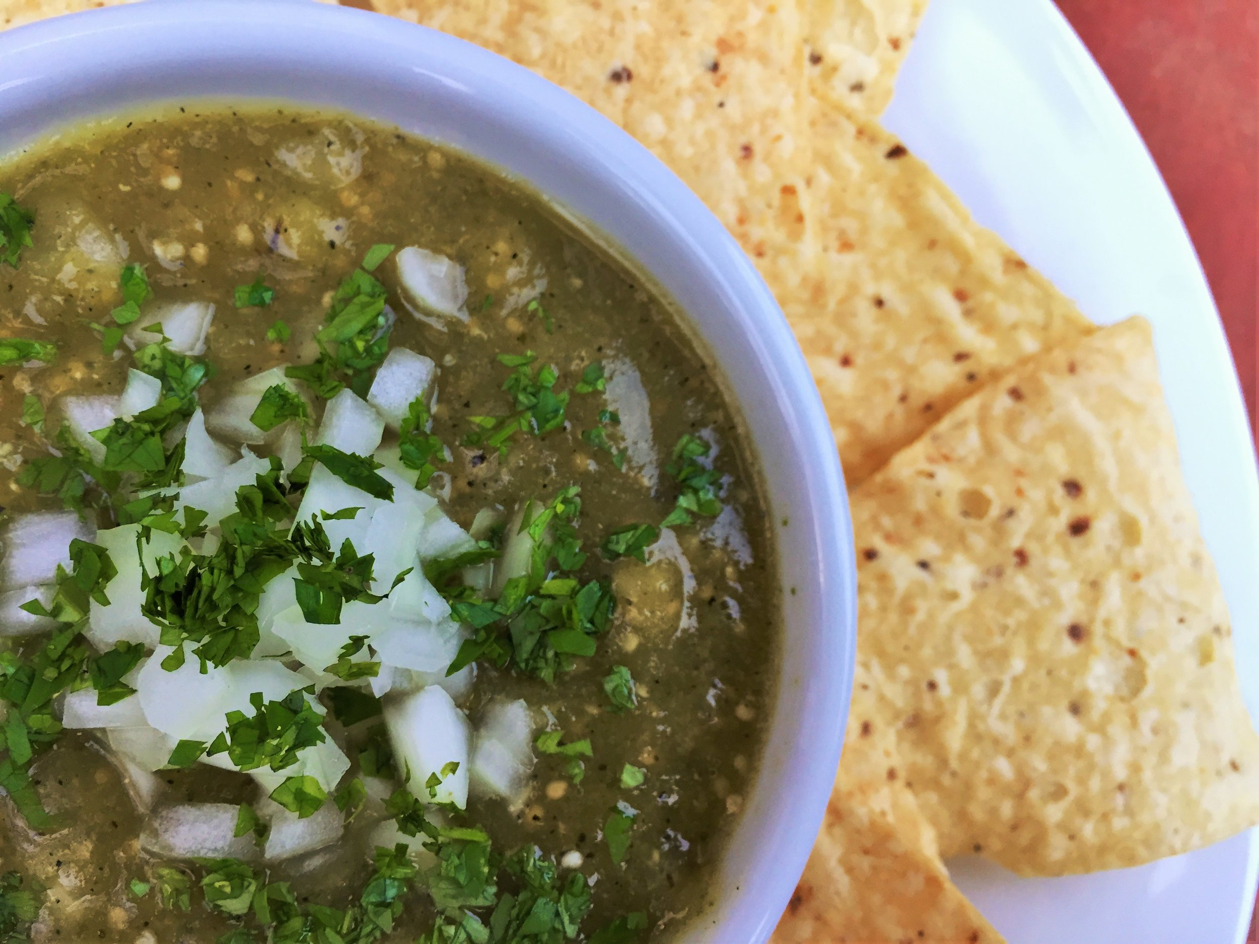 Roasted Tomatillo Salsa made in the Adventure Kitchen.