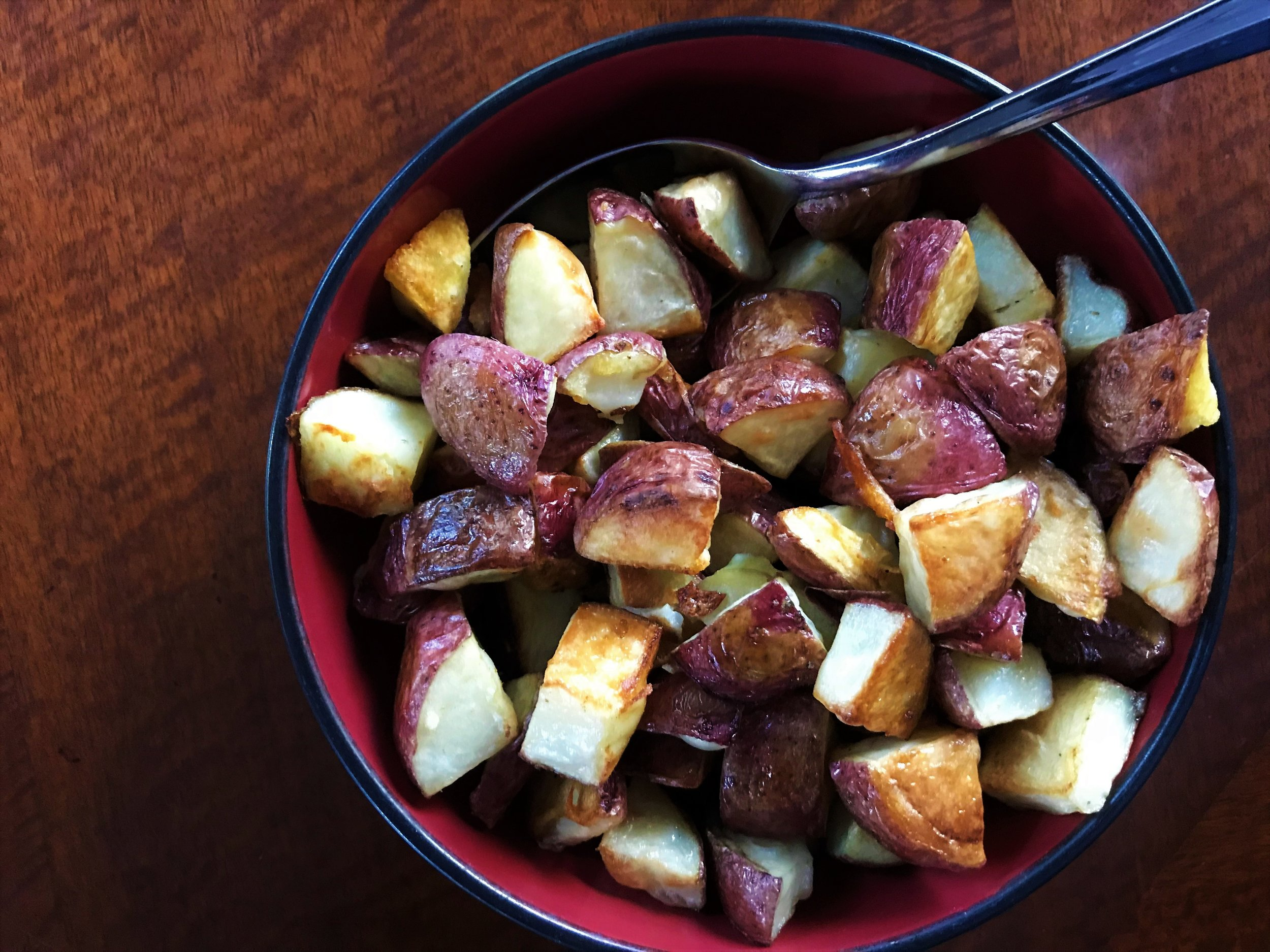 Roasted Red-Skinned Potatoes made in the Adventure Kitchen.