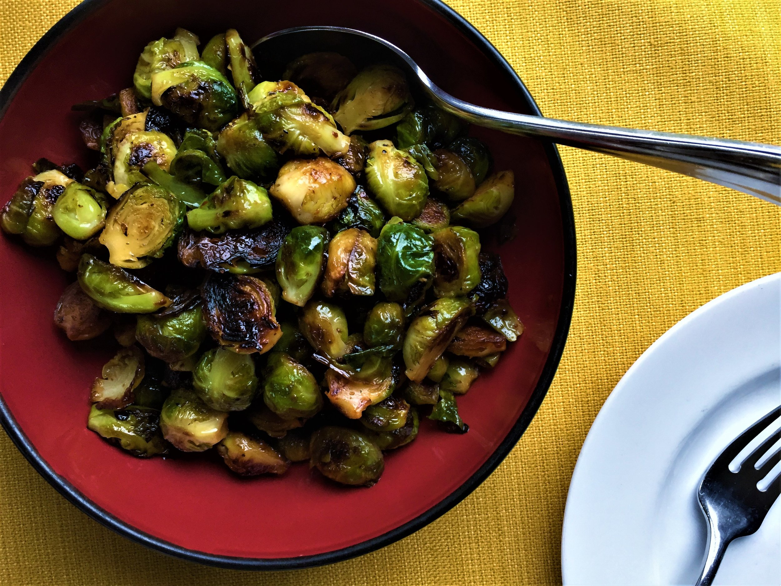Aleppo-Maple Glazed Brussels Sprouts made in the Adventure Kitchen.