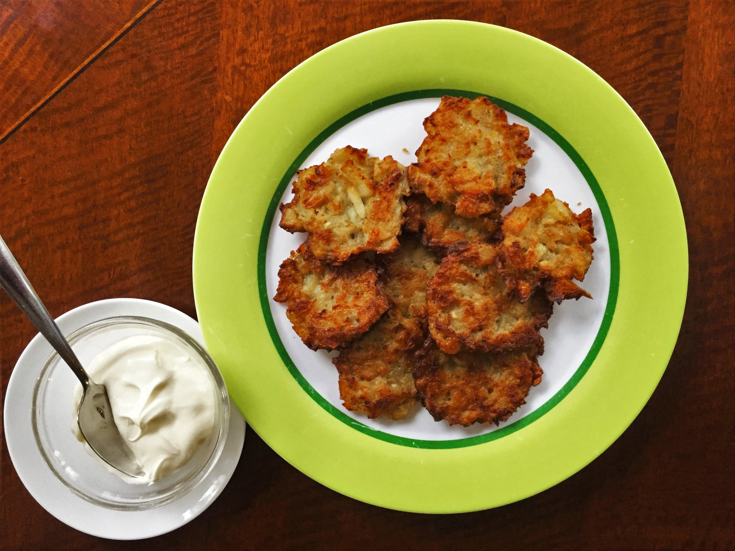 """My attempt at Deb's Latkes, made in the Adventure Kitchen.    Deb says, """"This is one of those recipes where the amounts may vary. The level of grating may vary. It's just feel. And love."""""""