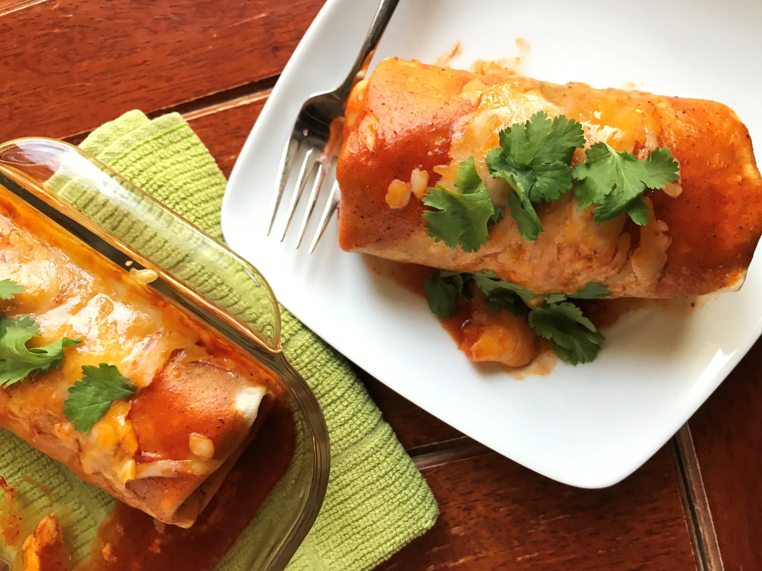 Enchilada-Style Chicken Burritos made in the Adventure Kitchen.