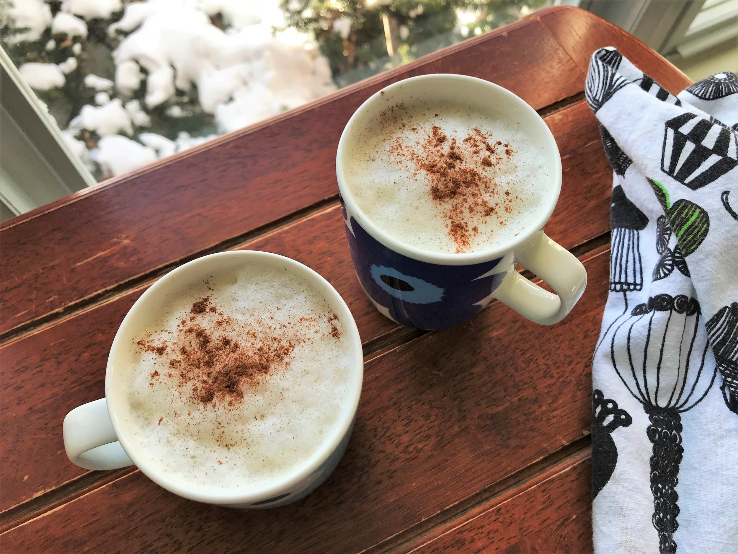 Warm, frothed Cinnamon Honey Milk made in the Adventure Kitchen.