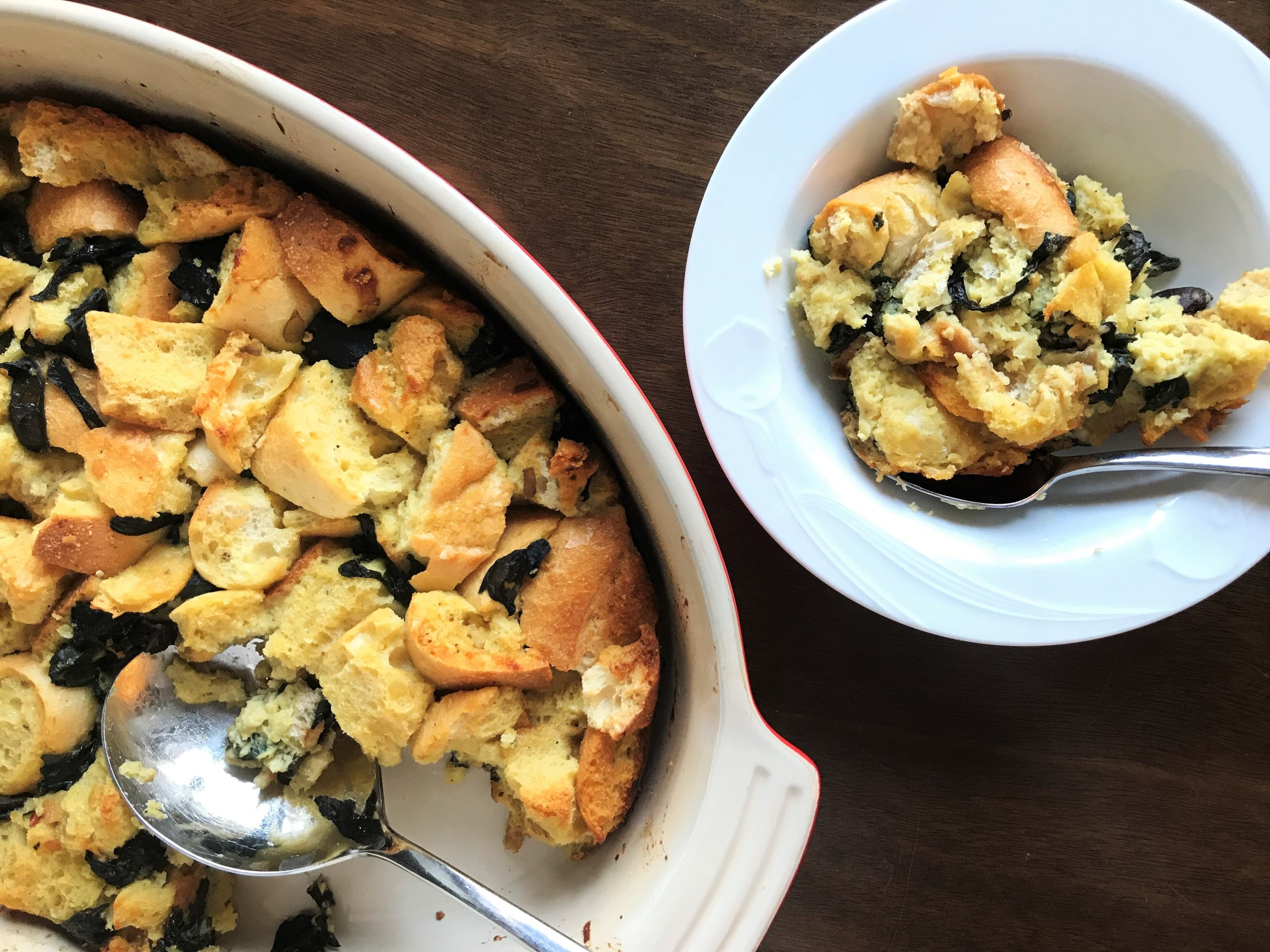 Savory Chard and Parmesan Bread Pudding made in the Adventure Kitchen.