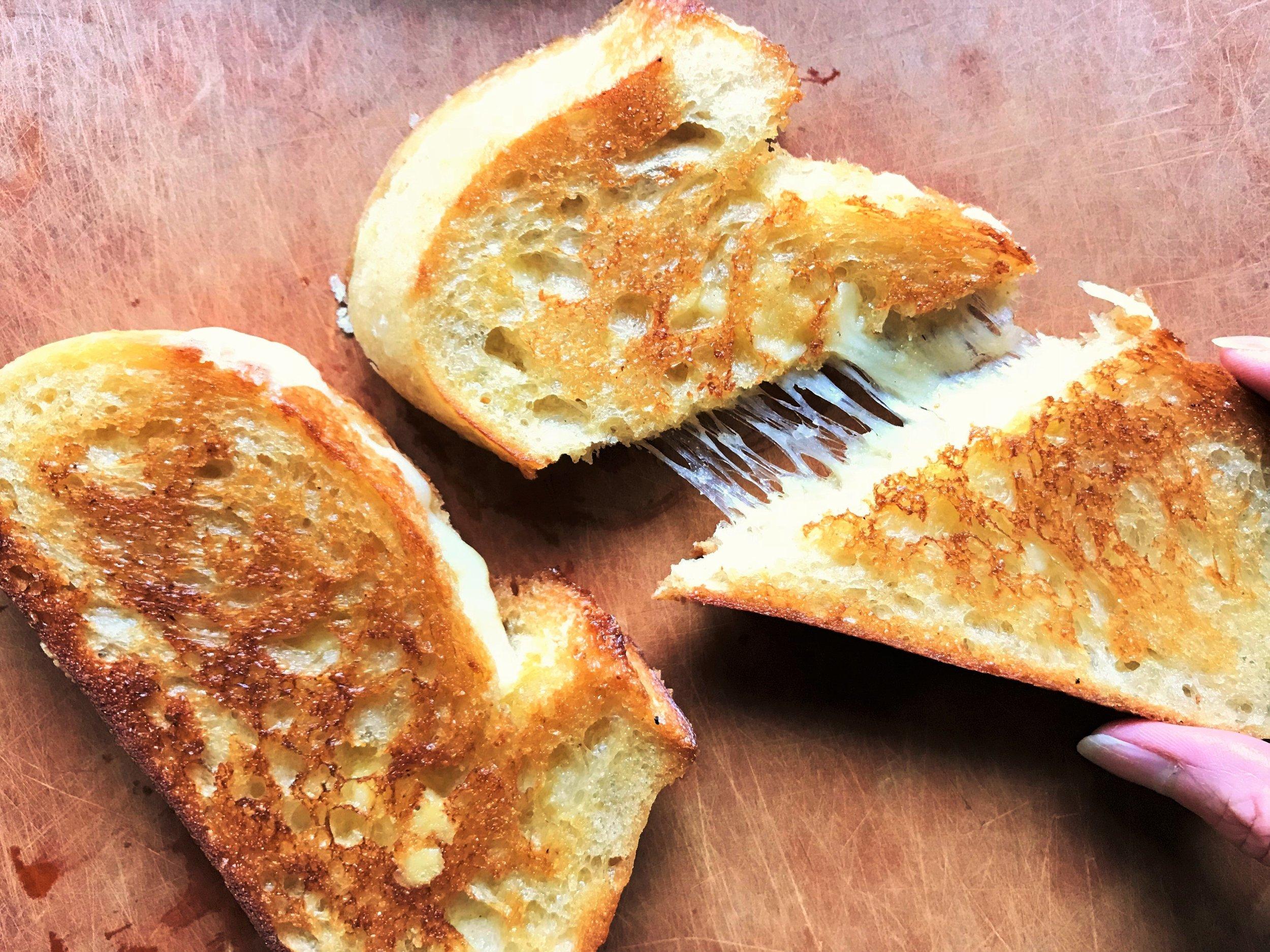 Gruyere Grilled Cheese sandwich made in the Adventure Kitchen.