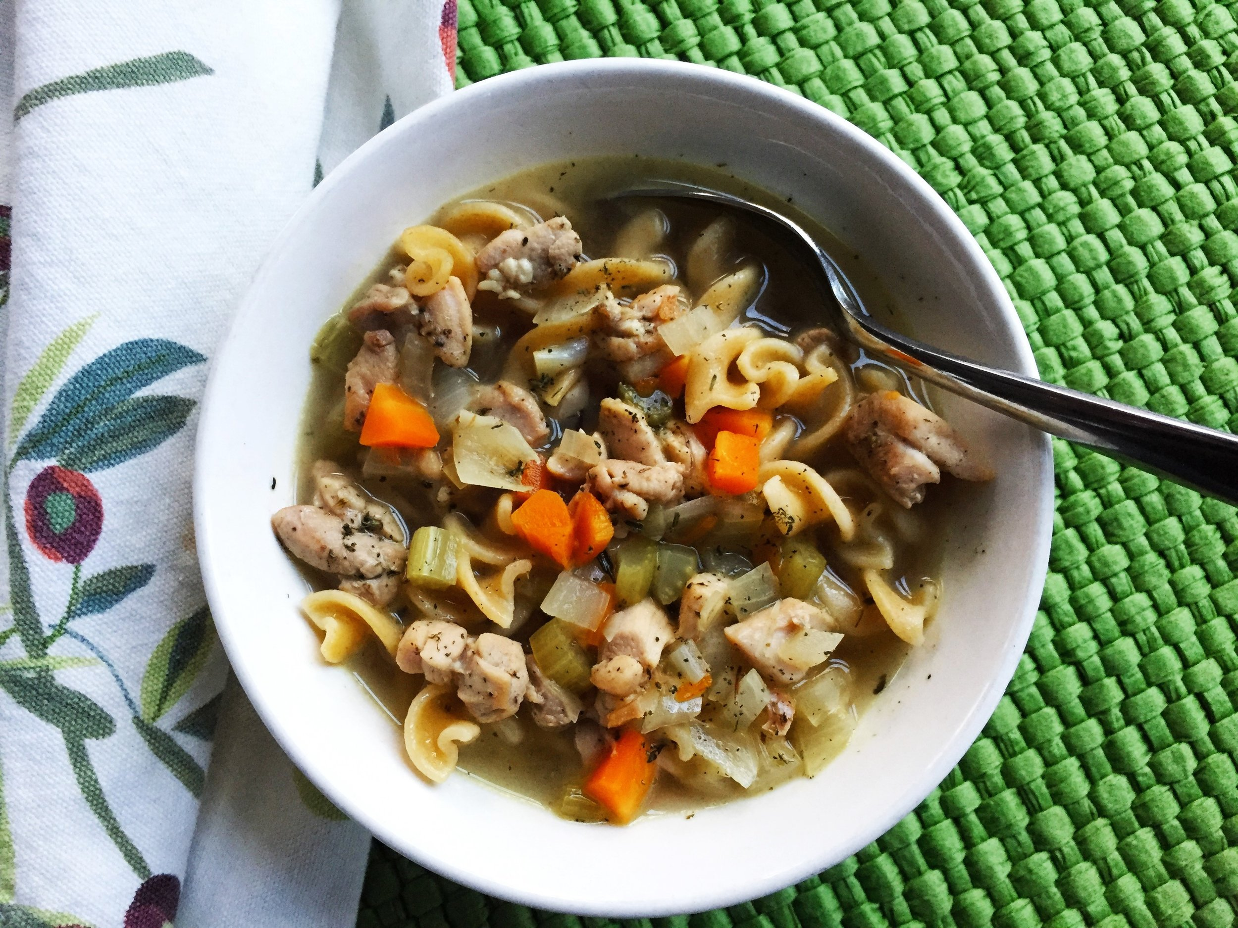 Chicken Noodle Soup made in the Adventure Kitchen.