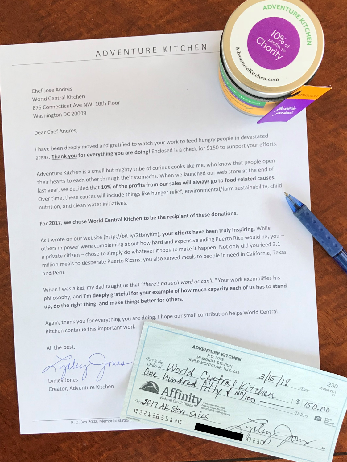 Here's the check and letter we sent to World Central Kitchen this year to support their work in Puerto Rico and many other places hit by disasters in 2017. Our store is brand new and still small, but we can't wait to see our donations grow in the coming years!