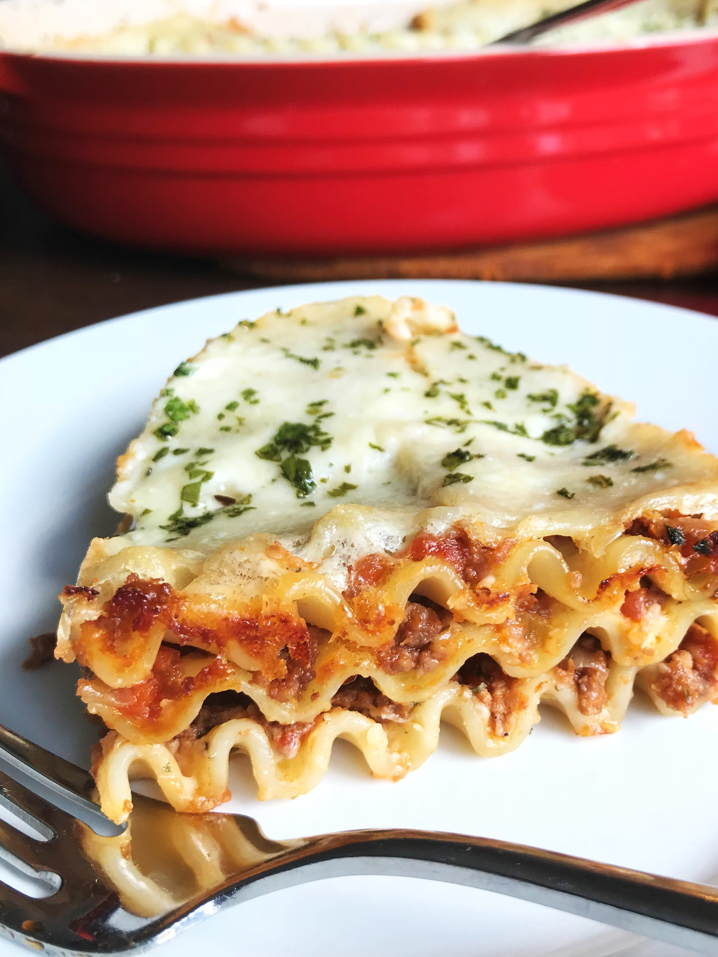 The layers of our Classic Lasagna. You can make more layers if you want! Just double the Bolognese, double the Parmesan bechamel and double the lasagna noodles. Really great either way.