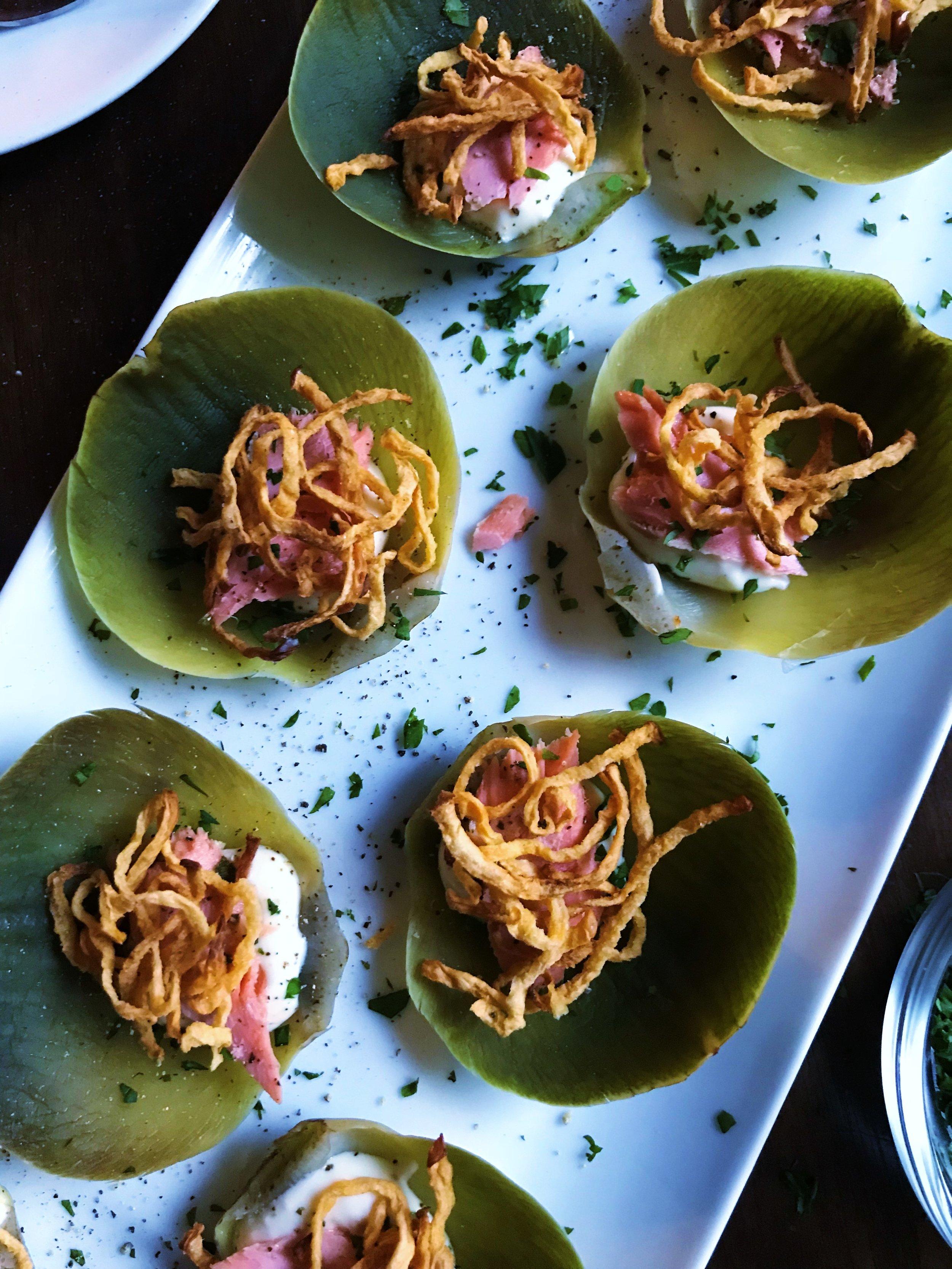 Artichoke Leaf Appetizer with Salmon and Rutabaga Straws-p2.jpg