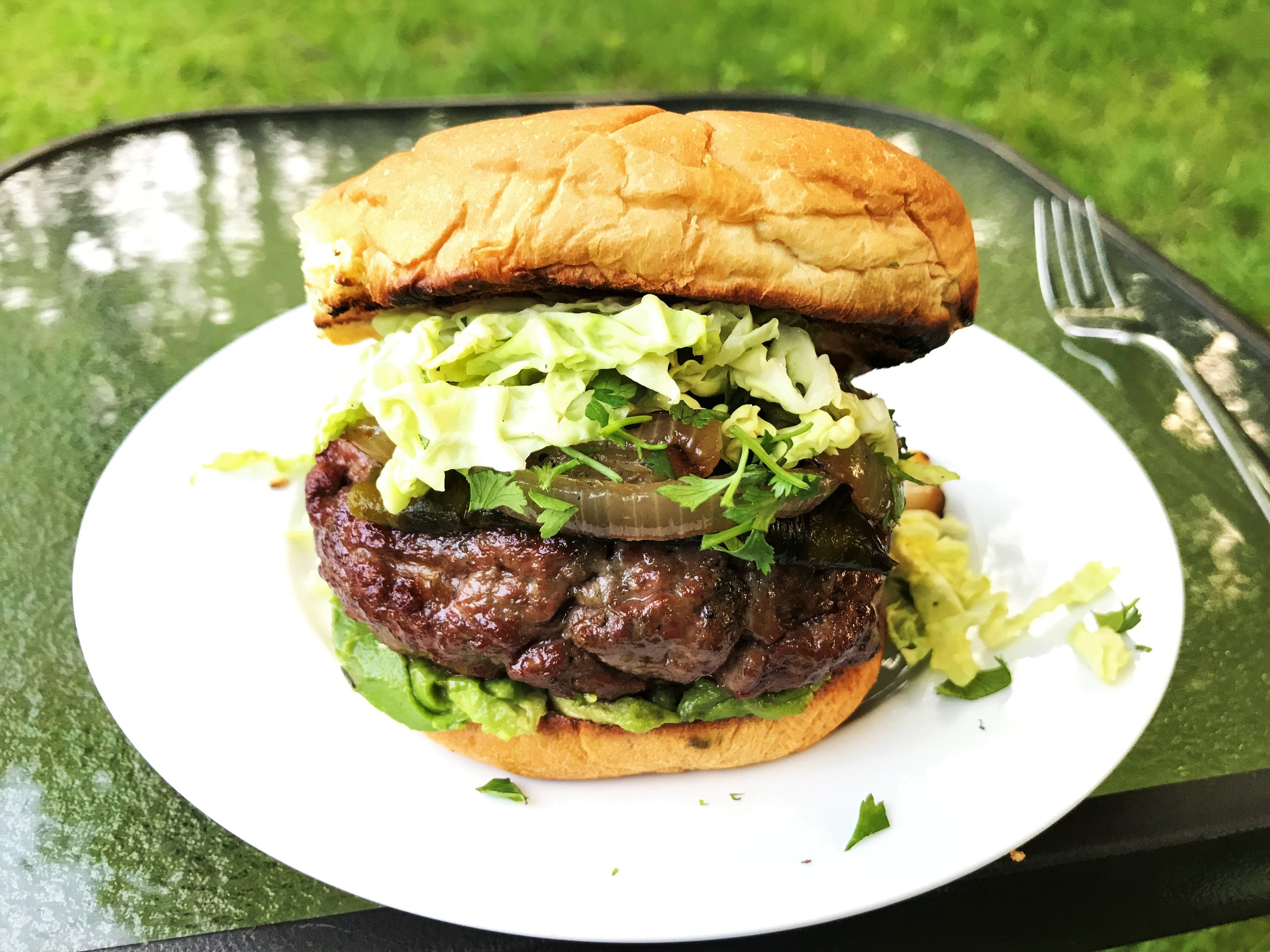 Mexican Stuffed Burger made in the Adventure Kitchen.