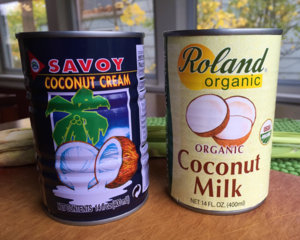 Two brands of coconut cream/milk from my local Asian market. I used the Savoy.