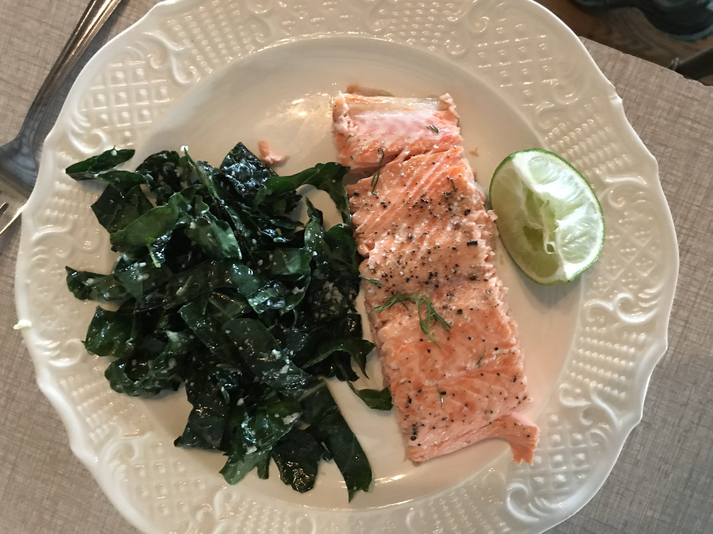 Our lunch: Kale Salad, and Roast VFD Salmon