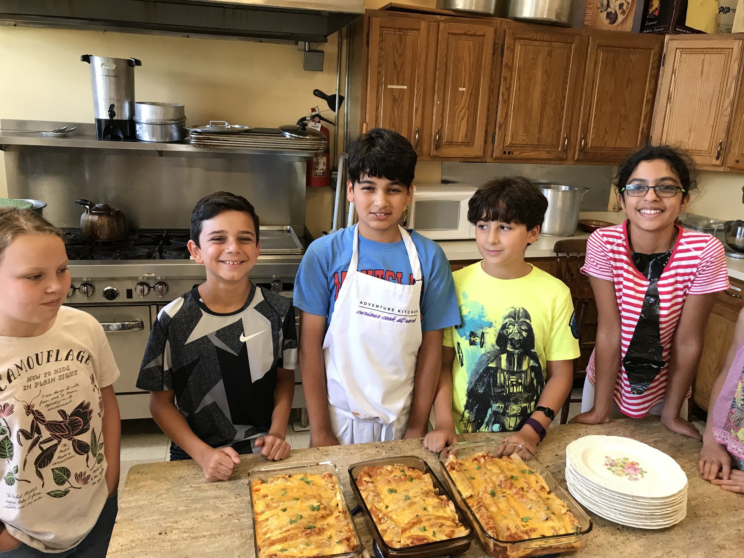 Campers with Hector's Chicken Enchiladas