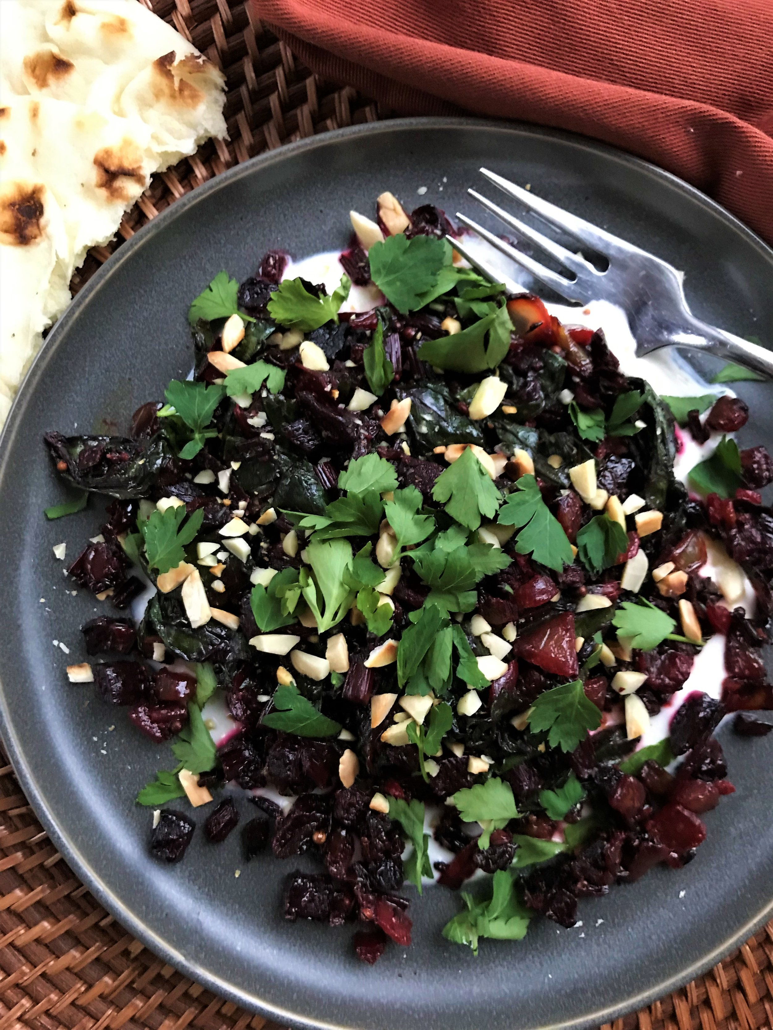 Here's Spicy Beet Curry with Beet Greens and Spiced Yogurt in the Adventure Kitchen. You can scoop it into warm naan bread for a vegetarian main, or serve it as a side with chicken, steak, pork or just about anything.
