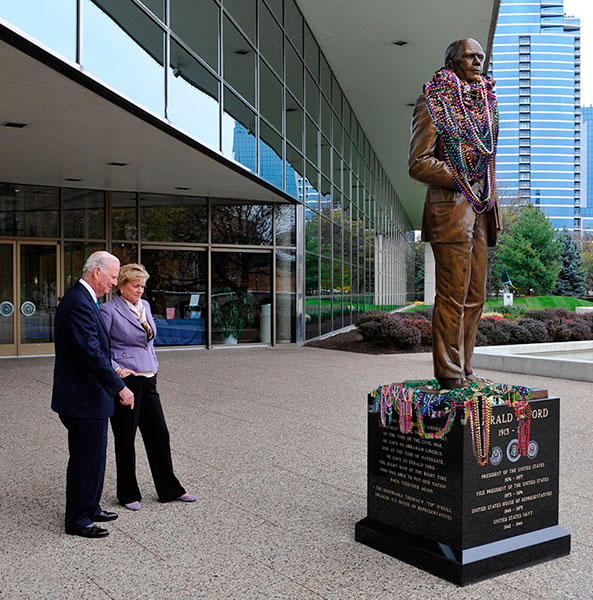 Proposal image for a thousand beads draped on J. Brett Grill's seven-foot tall bronze sculpture of President Gerald R. Ford in front of the Gerald R. Ford Museum