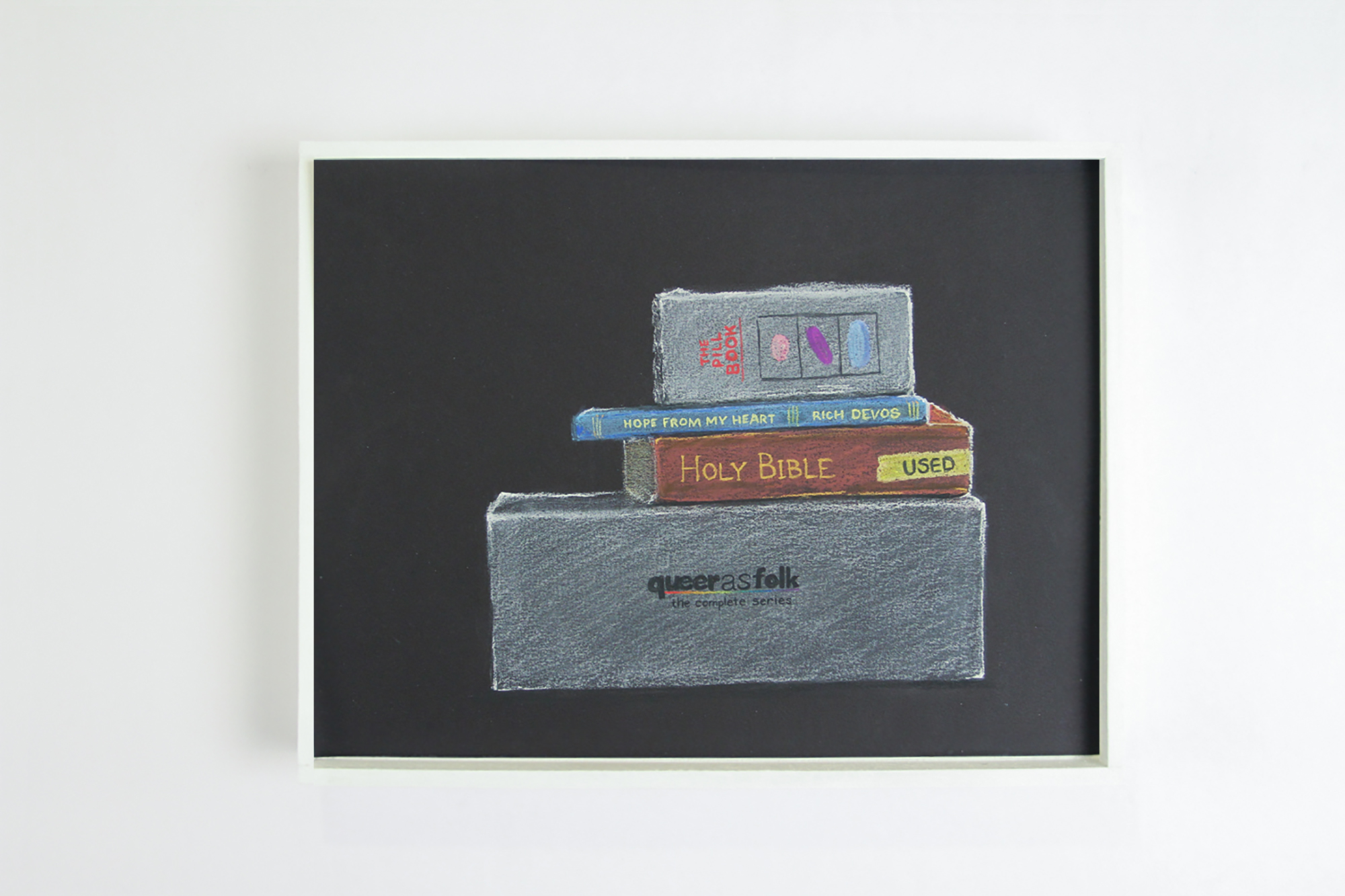 """Books and DVDs   ,  2017. Chalk-pastel on paper. 9"""" x 12""""."""