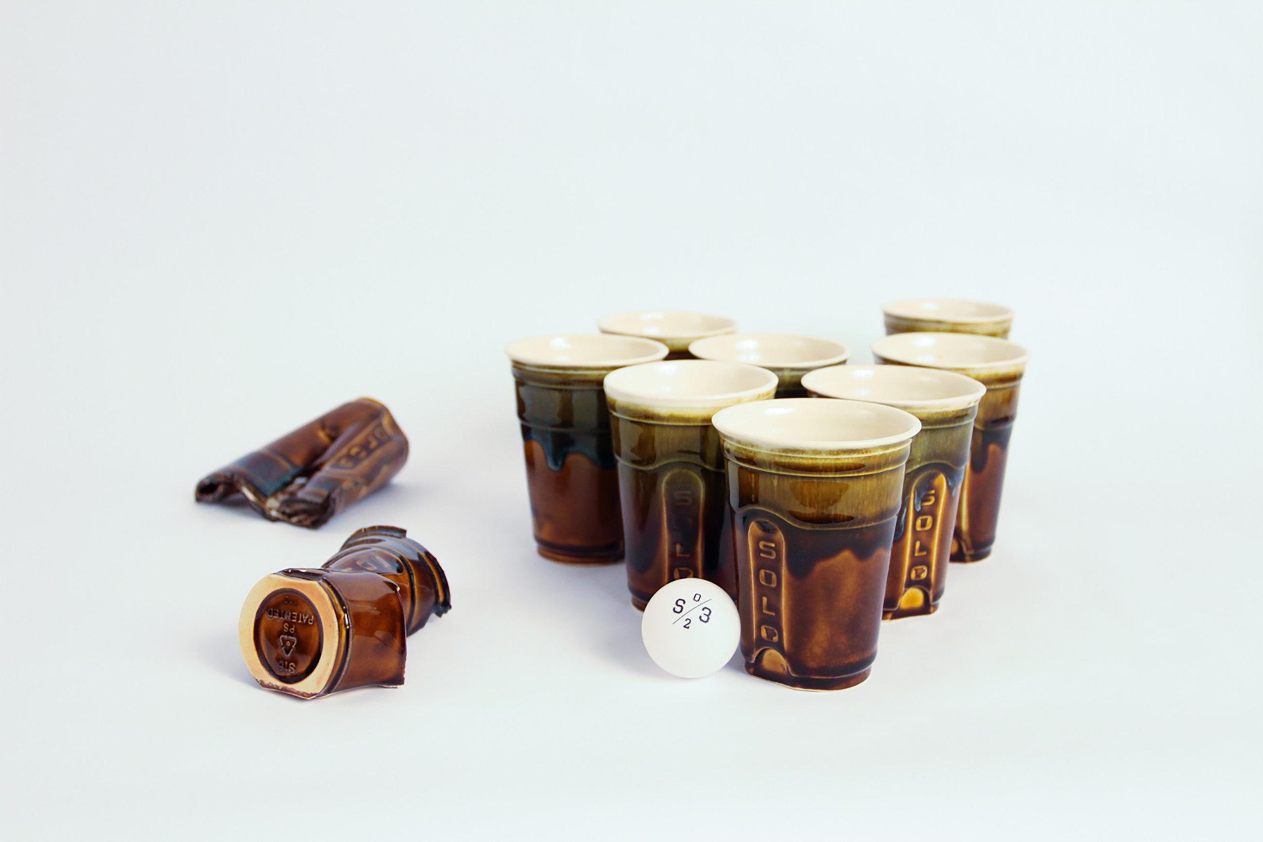 Solo Cups   ,  2017. Porcelain. Variable dimensions.
