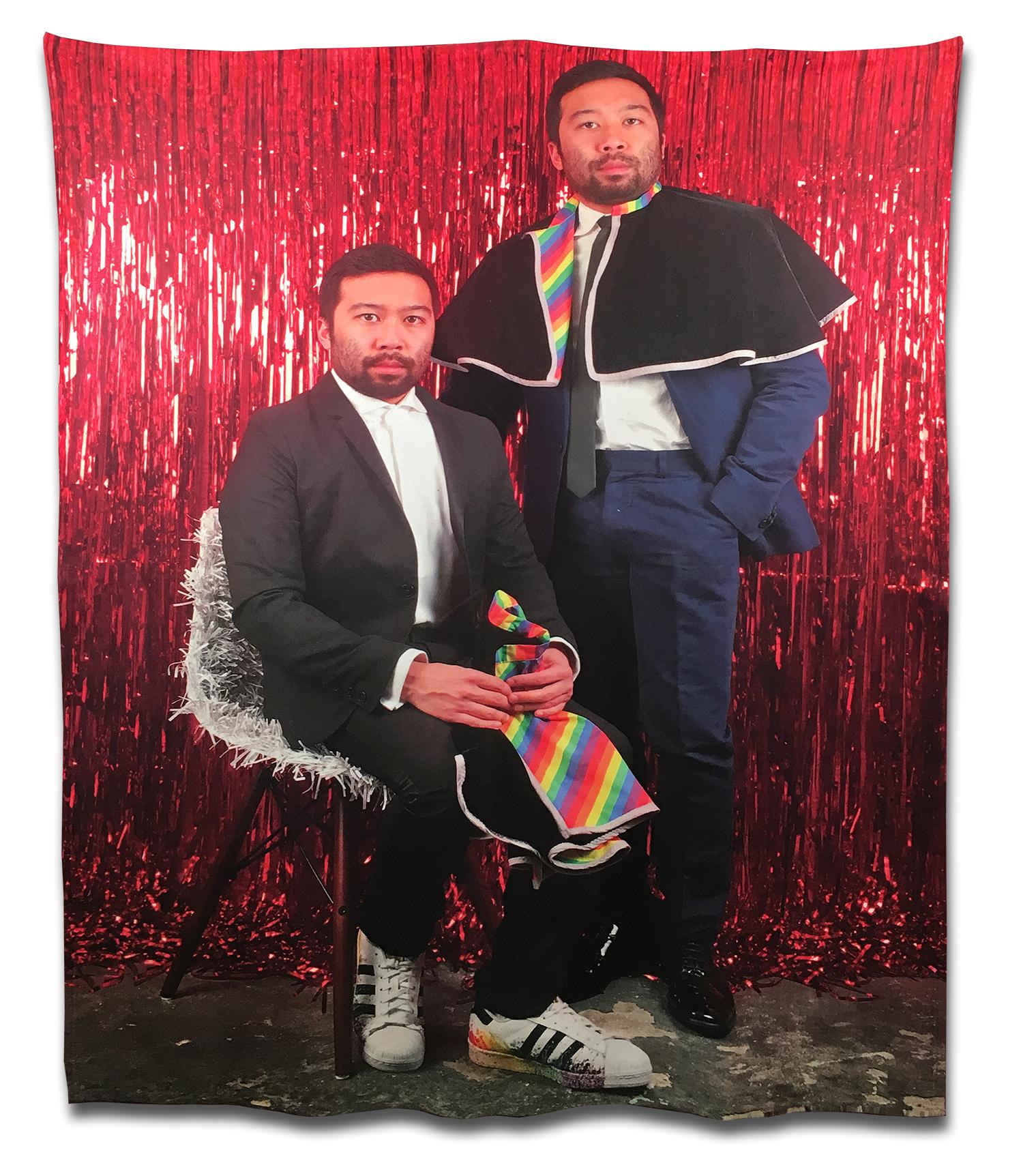 "photo booth (Andrew Ethan and Robert Zachary)  , 2018. Photo on fleece. 60"" x 50""."