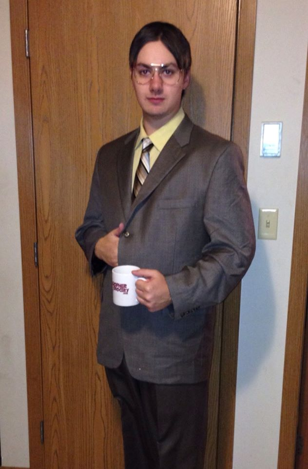 Dressed as Dwight from The Office for Halloween