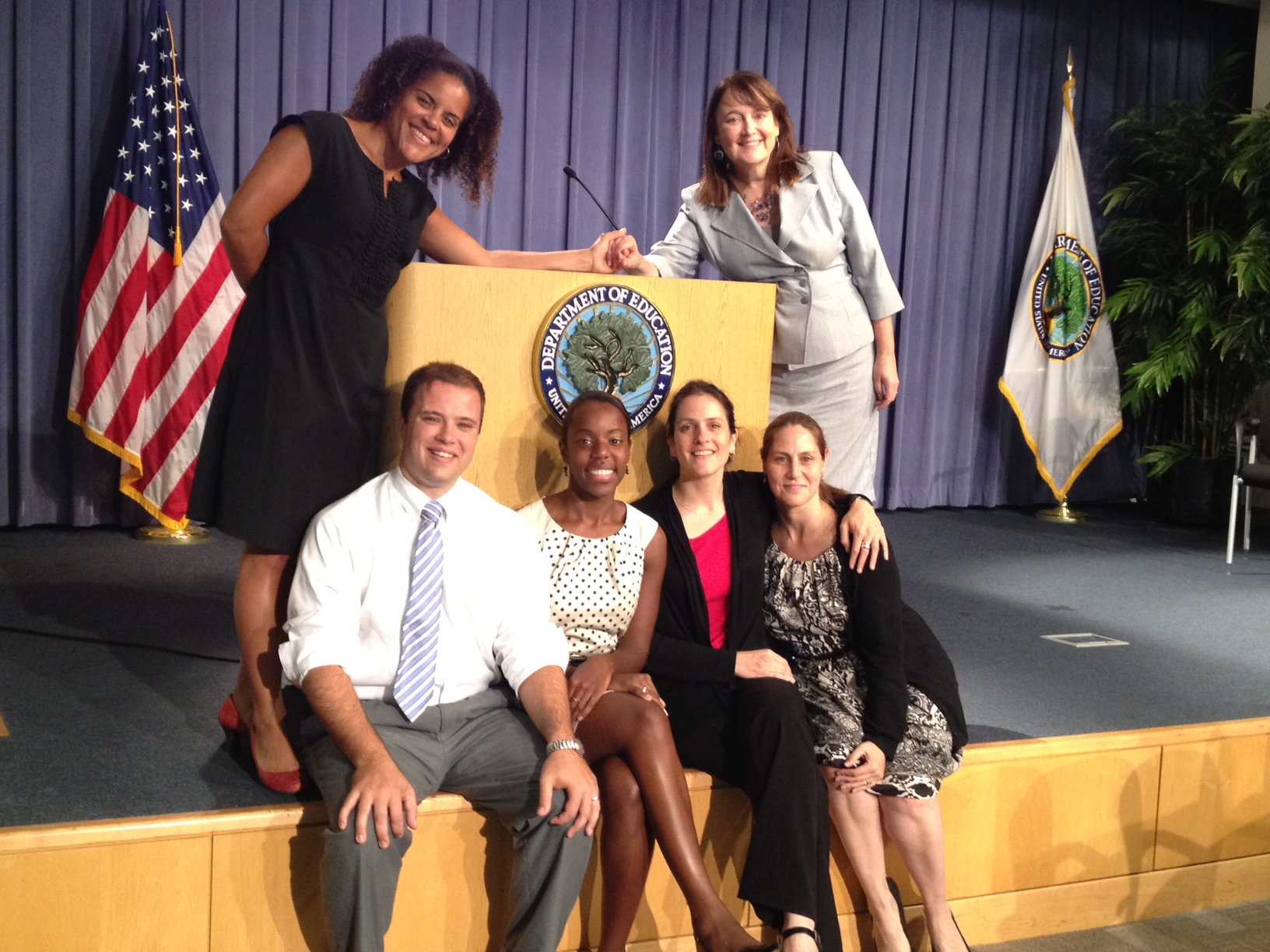 Here I am with my team of Washington Teaching Ambassadors at the end of our fellowship year in 2012. Pictured from left to right: (back row) Me and Maryann Woods-Murphy (NJ), (front row) Greg Mullenholz (MD), Shakera Walker (MA), Claire Jellinek (NM), and Gillian Cohen-Boyer (Director of the Teaching Ambassador Fellowship at the U.S. Department of Education).
