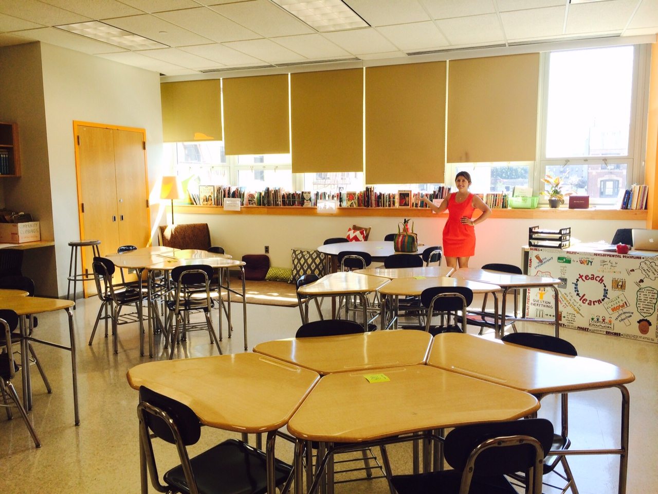 One of my co-teachers in our classroom on the first day.
