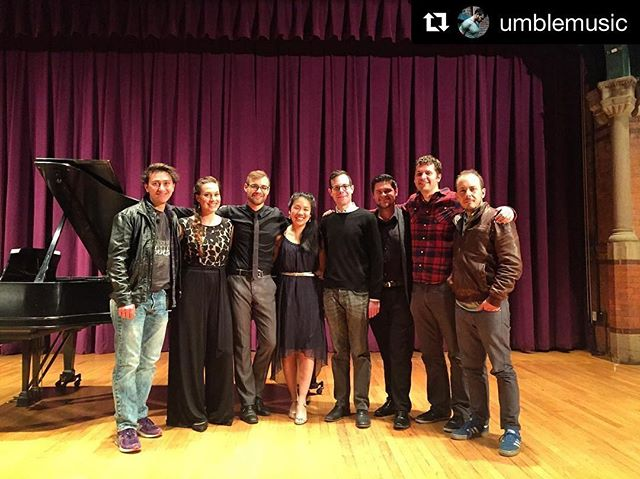 #Repost @umblemusic with @repostapp ・・・ @cornelluniversity residency day 5!!! Post recital pic, @stemmusic with Cornell PhD composers. It has been such an amazing week and we are having a blast working with them! @bsharp250 @silviecheng @meaganamillion