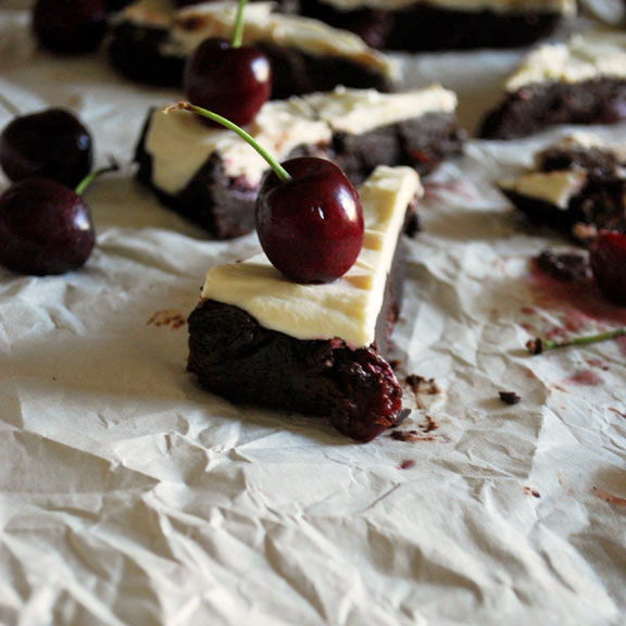 Cherry Brownies with Goat Cheese Frosting