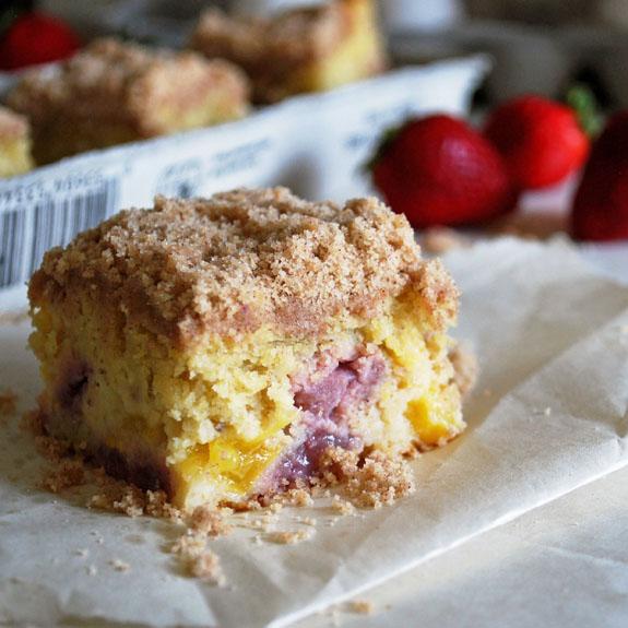 Strawberry and Peach Cornmeal Coffee Cake