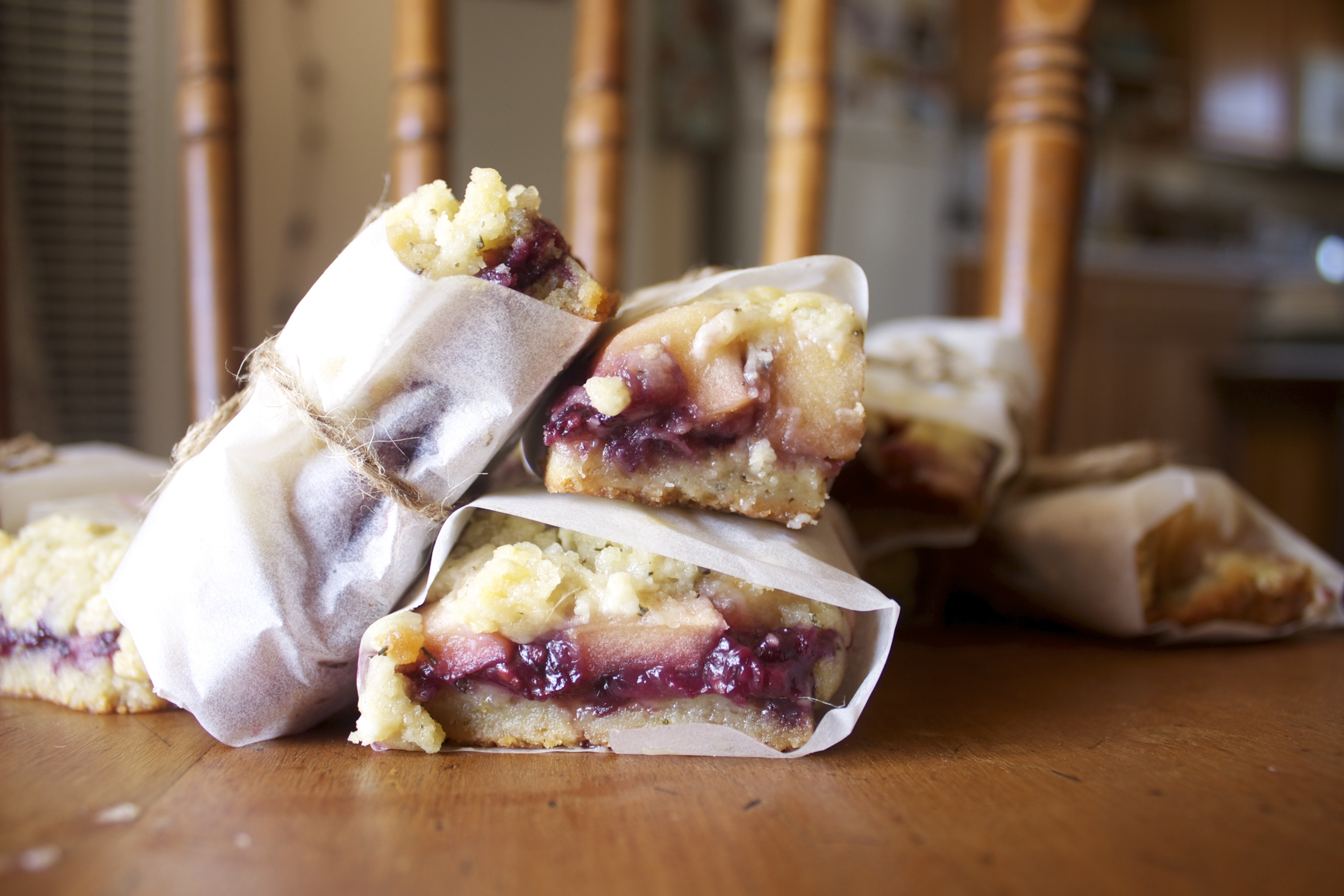 BLACKBERRY JAM AND APPLE FILLED ROSEMARY-SHORTBREAD BARS