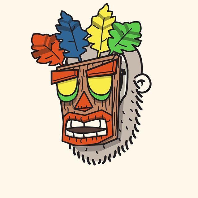 48/100 A little throwback to Crash Banidcoot #100dayproject #the100dayproject #100dayproject2018 #100daysofheadshots #vectorillustration #crashbandicoot #mask