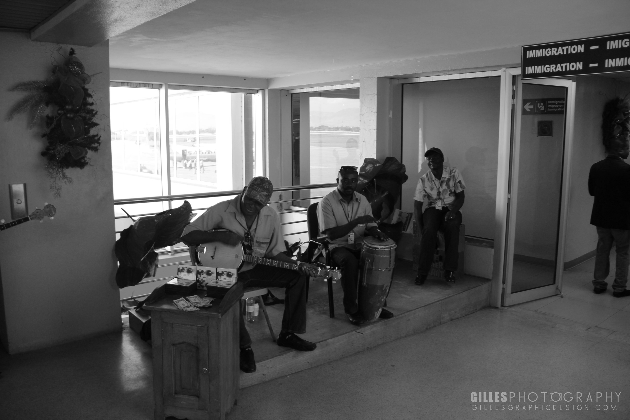 Beautiful Music serenades oncoming arrivers at the airport in Port-Au-Prince.