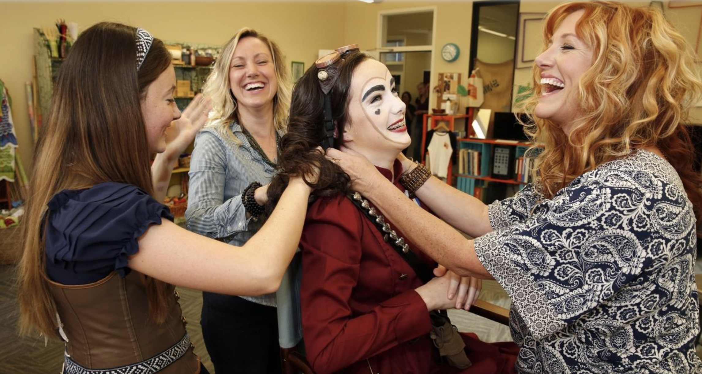 "Kaitlyn O'Leary (red jacket) (left to right) Emma Rasse, Courtney Corey and Marci Wuebben work on ""The Queen of Hearts"" production. (Nancee E. Lewis)"