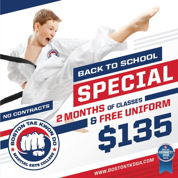 💥BACK TO SCHOOL SPECIAL💥 2 months of classes and a free uniform! That is 24 classes in all! Also we don't make you sign contracts! Come try us out!!!!! #bufordga #cityofbuford #hamiltonmillga #bufordcityschools #daculaga #daculacityschools #bufordgeorgia