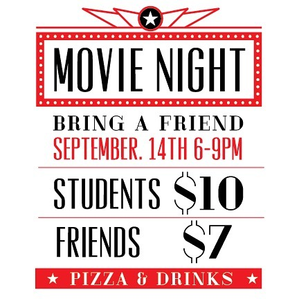🍿MOVIE NIGHT🍿This Friday!!!! Pizza and Drinks! September 14, 6-9. Remember to bring a friend!!!!!
