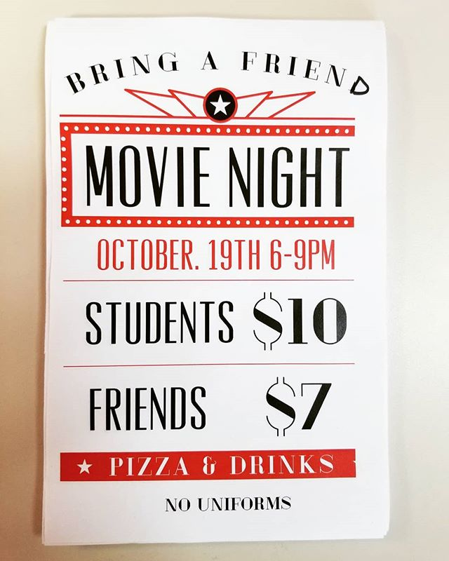 Parent's Night Out & Movie Night is this Saturday! Bring a friend for games, pizza and a movie!
