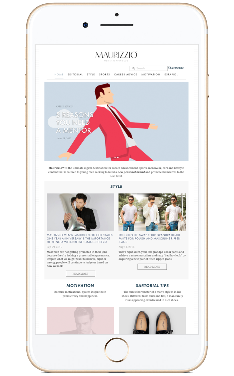 Proyecto: Maurizzio Men's Fashion Blog - Website ideal para blogeros.