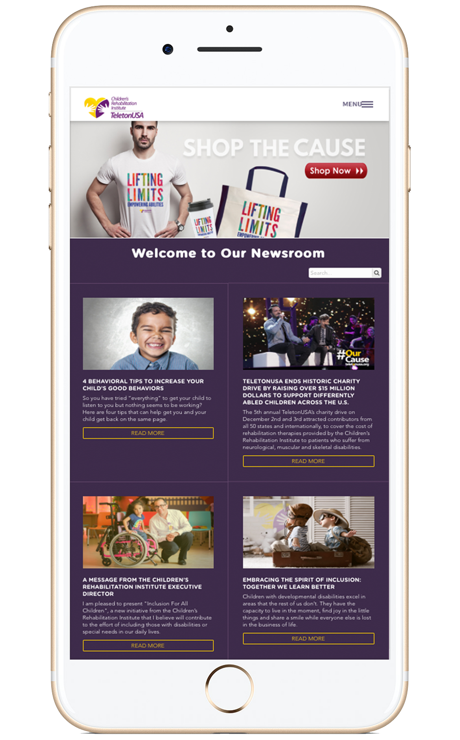 Proyecto: Children's Rehabilitation Institute of TeletonUSA - Ejemplo de websites para organizaciones no-lucrativas