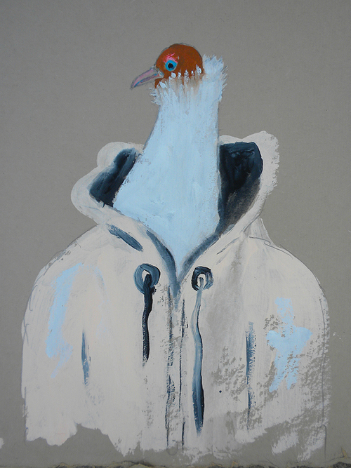 """Dapper Pigeon , 2014 10 x 12"""" gouache, oil stick and graphite on hand made rag paper"""