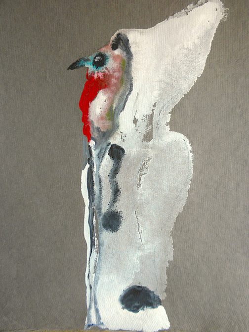 """Turkey Face,  2014 10 x 12"""" gouache, oil stick and graphite on hand made rag paper"""