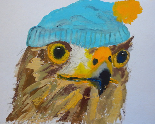 """Pensive Hawk,  2014 10 x 12"""" gouache, oil stick and graphite on hand made rag paper"""